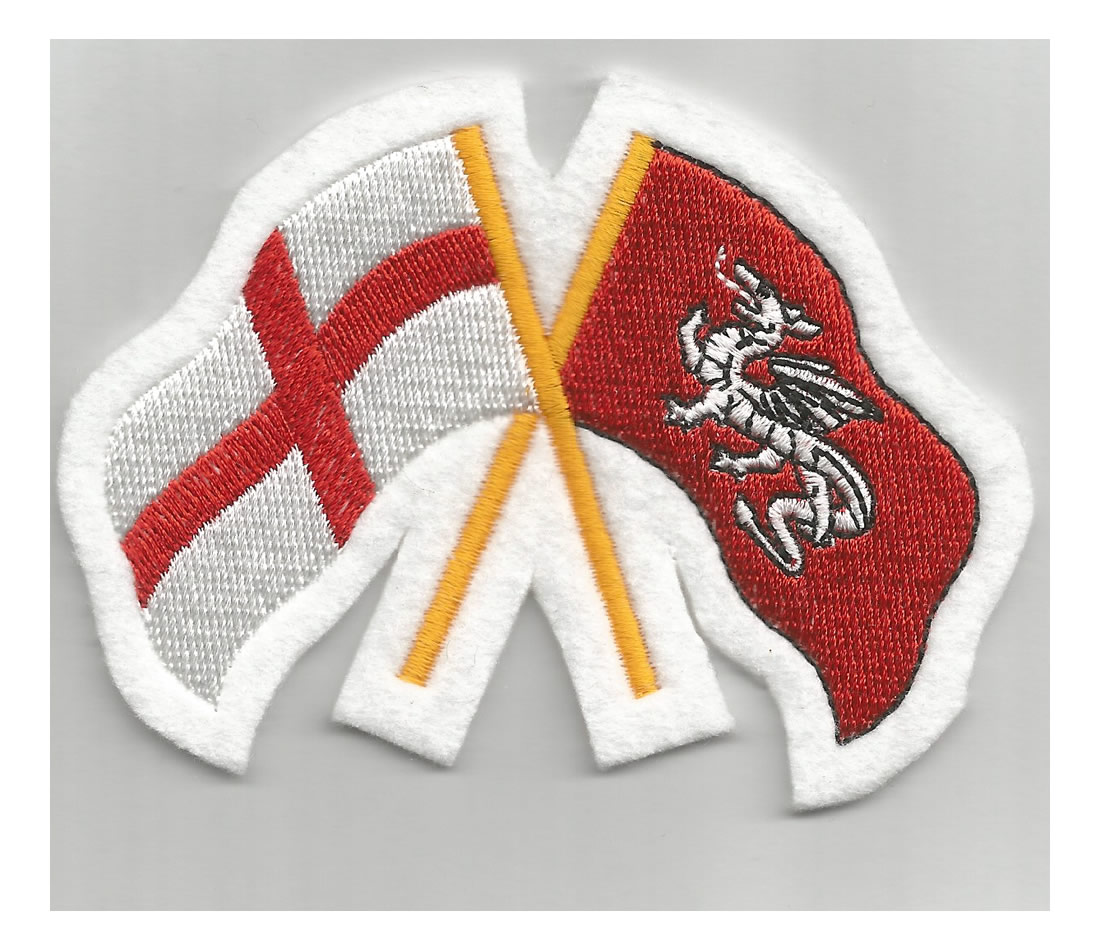 Cross of St George crossed with White Dragon flag patch